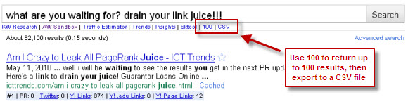 Use SEO for Firefox Toolbar to find link juice