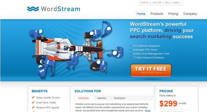 Low CTR strategy WordStream banner