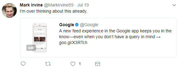 mark irvine reacts to google feed