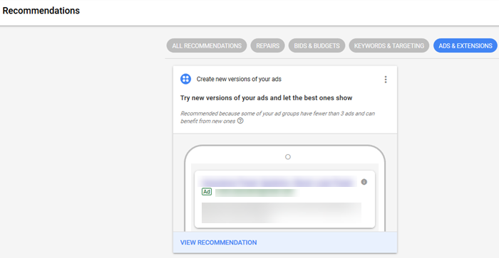 adwords ad suggestions feature