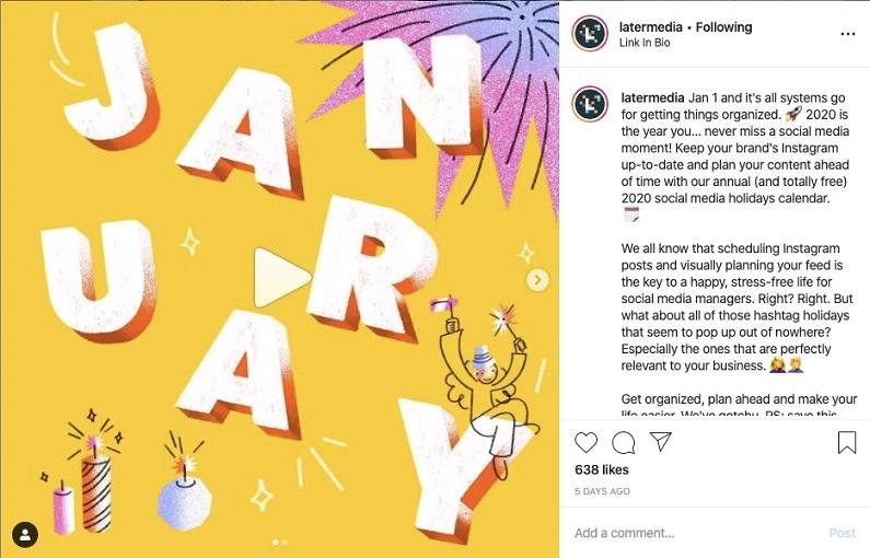 "Latermedia ""January"" Instagram post"