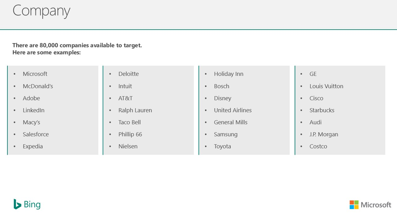 Bing Ads LinkedIn profile targets by company