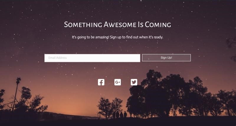 coming soon landing page example