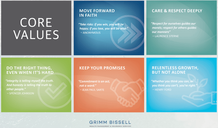 example of famous quote-based company values by grimm bissell