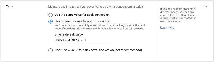 conversion value create screen in Google Ads