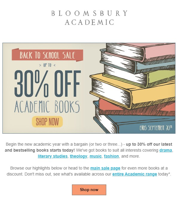 30% for back to school email offer