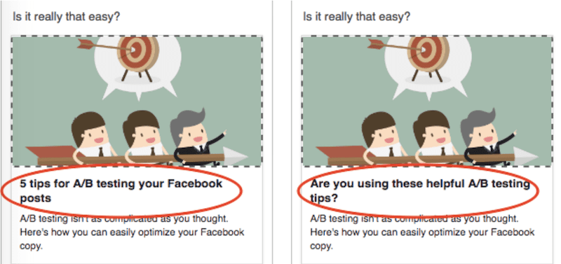 facebook a/b testing example with headlines