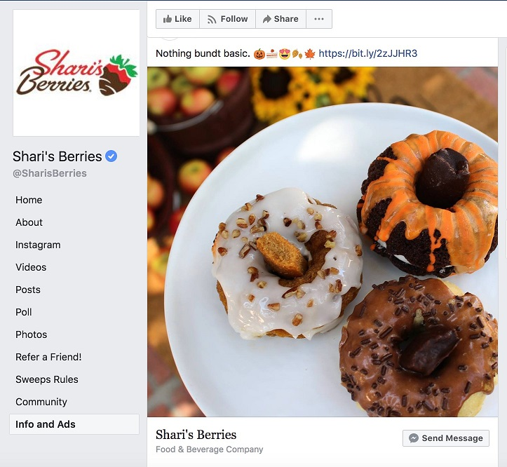 Facebook ad transparency ecommerce strategy Shari's Berries page