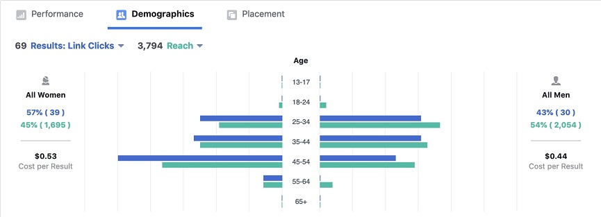 Facebook ads demographics