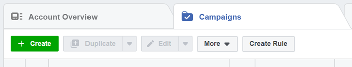 facebook ad manager campaign tab overview