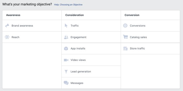 Facebook advertising campaign objectives options
