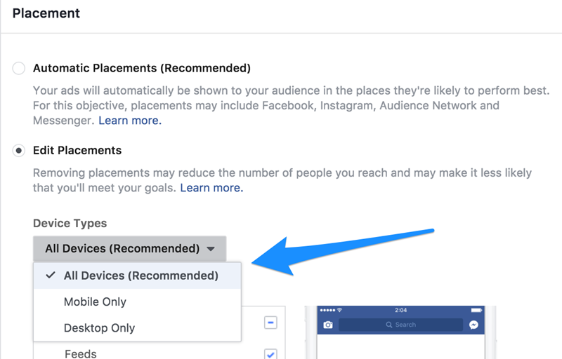 Facebook Ad Tips Placement