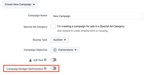 Facebook campaign budget optimization (CBO) button
