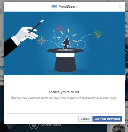 "Facebook lead ad WordStream's ""thank you"" page"
