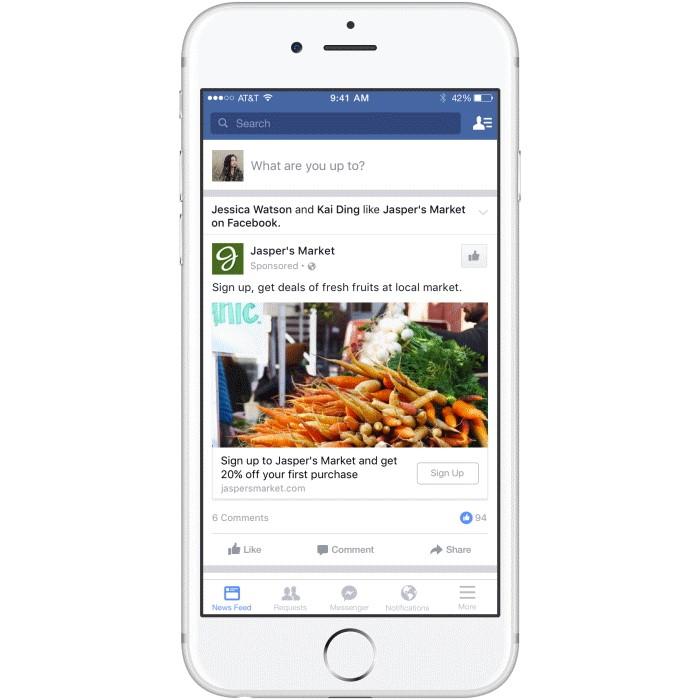 Facebook lead ads Jasper's Market example