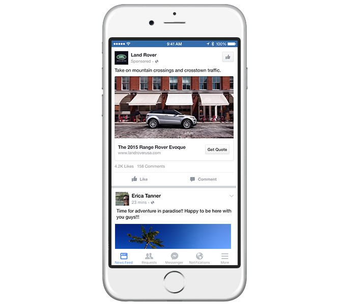 Facebook lead ads Land Rover example