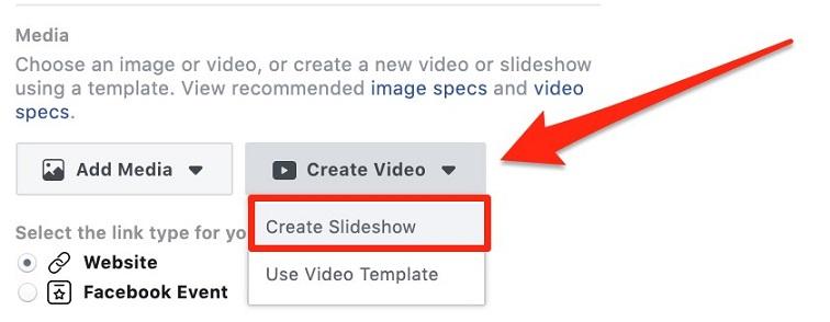 """Facebook """"Create Slideshow"""" button"""