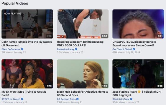 Facebook video views example: popular video s