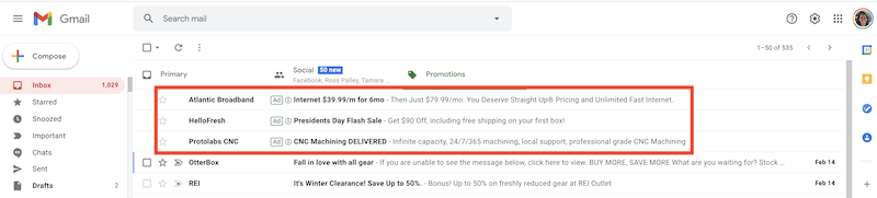 gmail ads going away ad example
