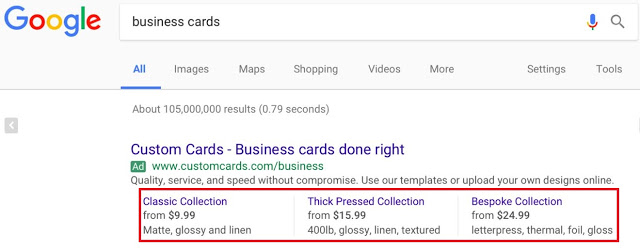 google ads price extensions example biz cards