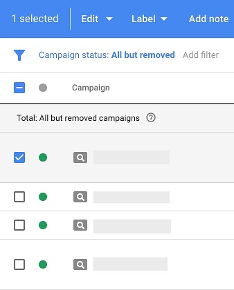 Google Ads automated rules choosing campaigns