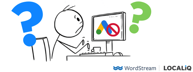 stick figure at computer confused about google ads disapproval