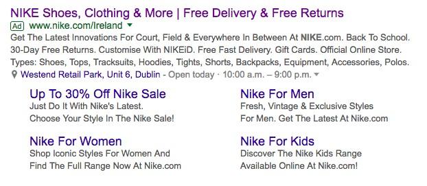 Google Ads enlaza las extensiones de enlaces de sitio