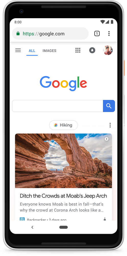 Google Discover Homepage