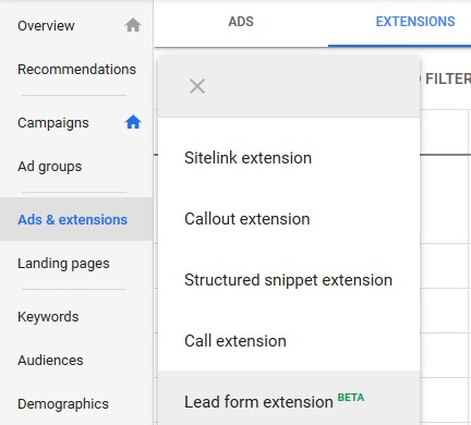 Create a Google lead form extension