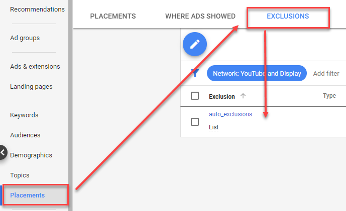 google ads exclusions tab
