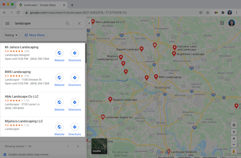 how to rank higher on google maps -featured image -google maps listing results