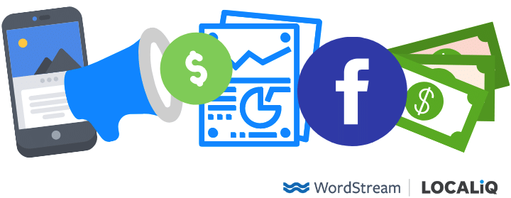 facebook logo with dollar bills and advertising report