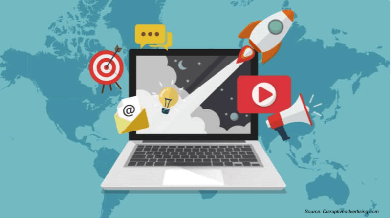 laptop with digital marketing channels used to improve online presence