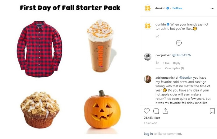 Dunkin's fall starter pack Instagram post