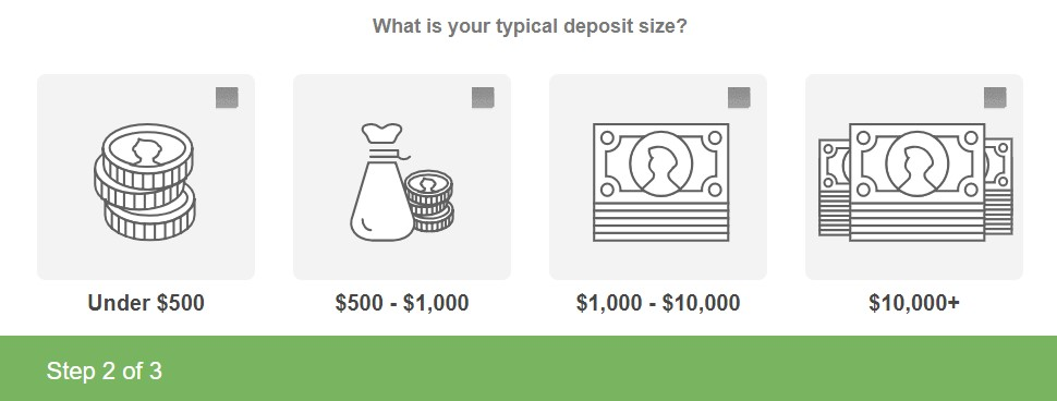 lead capture form image selection options