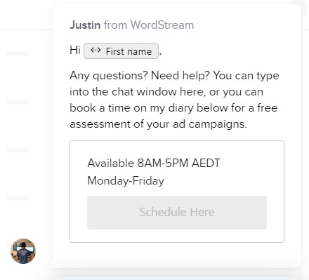 live chat automated response example