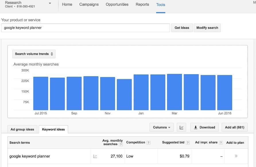 local SEO Google keyword planner