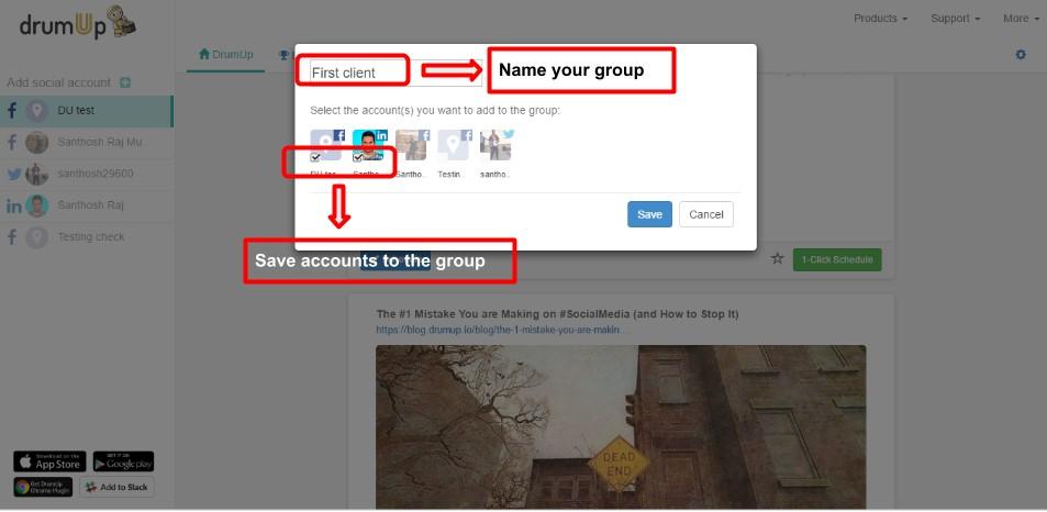 Administrar cuentas de redes sociales DrumUp