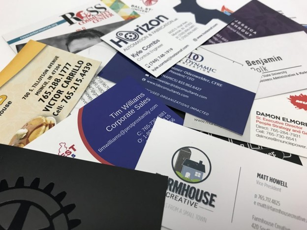 piles of business cards