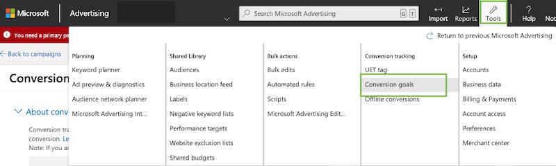 microsoft ads event tracking—create conversion goal screen