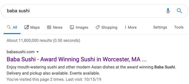 Baba Sushi SERP