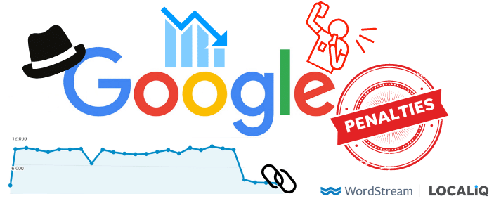 google logo with black hat and penalty stamp