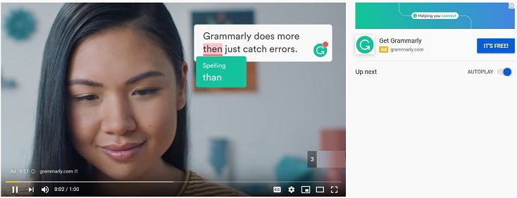 Grammarly remarketing ad on YouTube with common grammar errors
