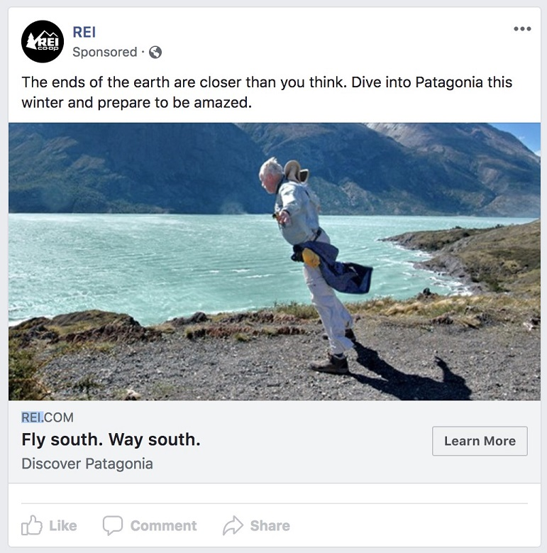 weather-based Facebook ad example for winter