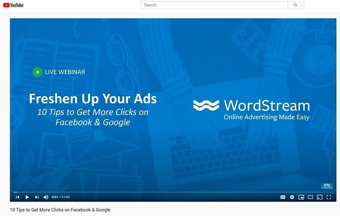 webinar example from WordStream