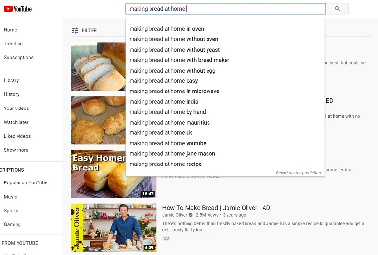 YouTube advertising during COVID-19 search example