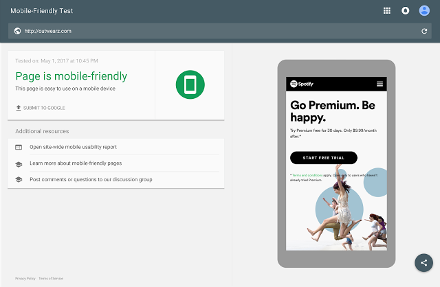 adwords mobile landing page test