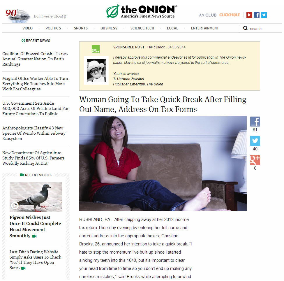 native advertising examples of the best and worst wordstream native advertising examples the onion sponsored post