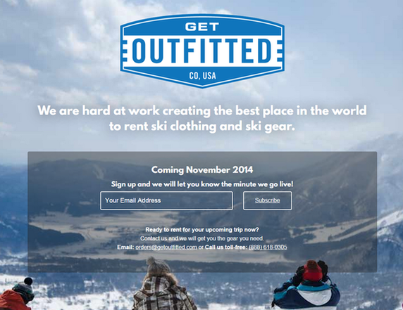 Niche marketing GetOutfitted homepage