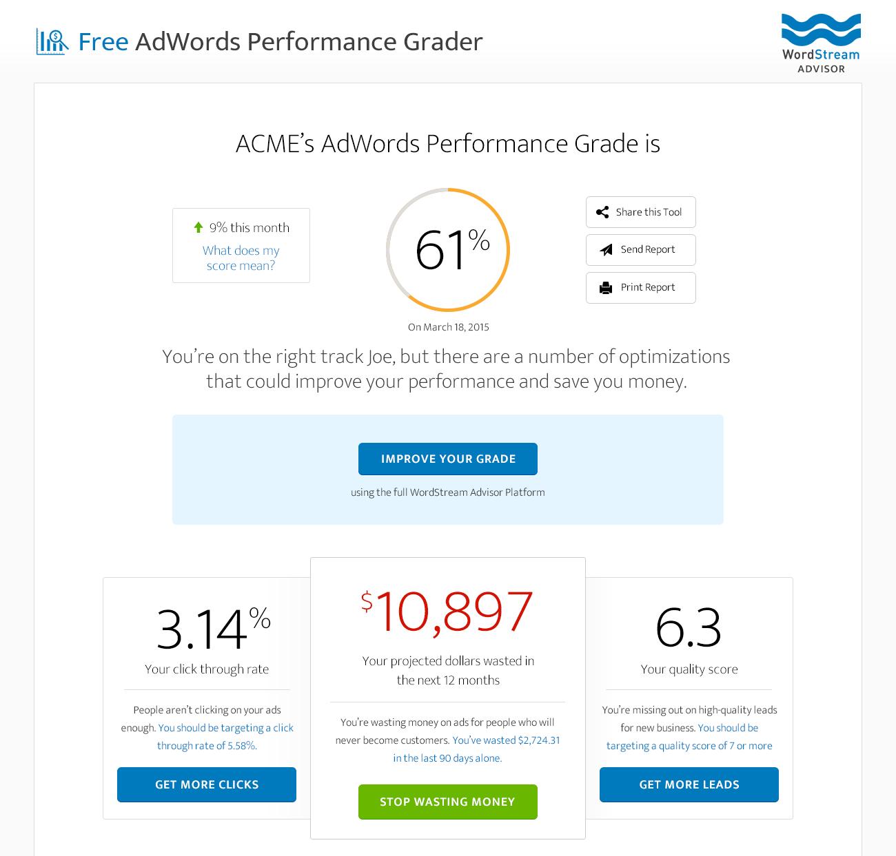 Online marketing tools WordStream AdWords Performance Grader